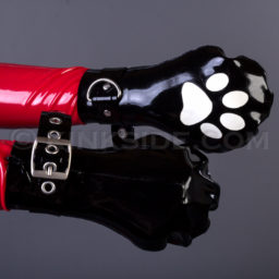 Latex cat paw bondage mittens