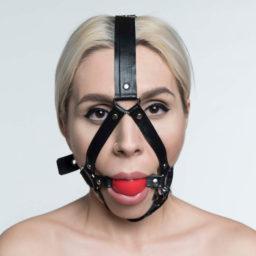 Latex harness ballgag